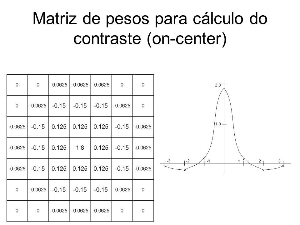 Matriz de pesos para cálculo do contraste (on-center)