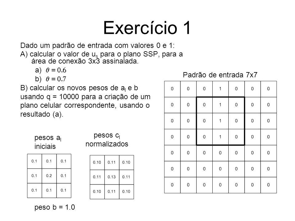 Exercício 1 Dado um padrão de entrada com valores 0 e 1: