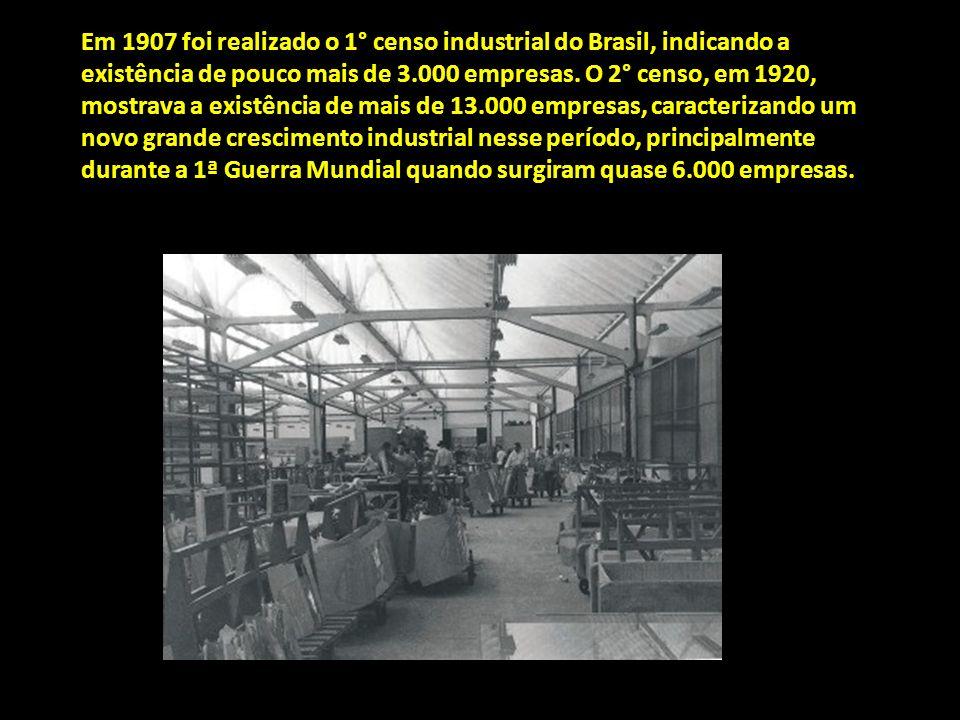 Em 1907 foi realizado o 1° censo industrial do Brasil, indicando a existência de pouco mais de 3.000 empresas.