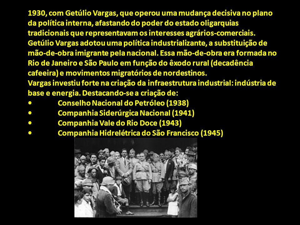 1930, com Getúlio Vargas, que operou uma mudança decisiva no plano da política interna, afastando do poder do estado oligarquias tradicionais que representavam os interesses agrários-comerciais.
