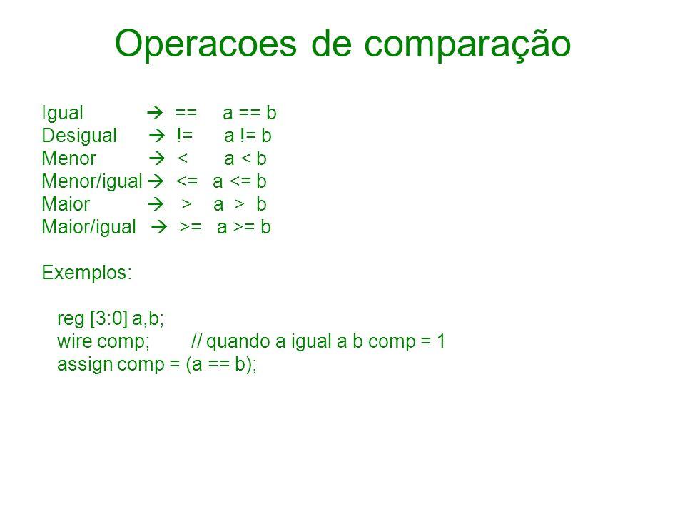 Operacoes de comparação