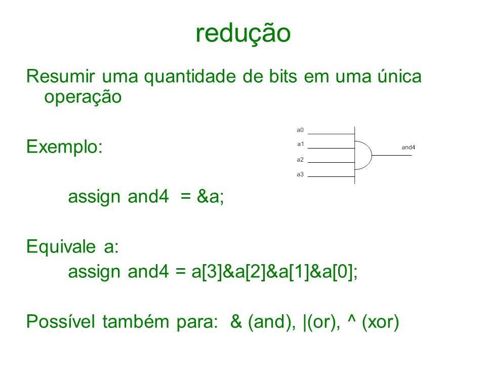 redução Resumir uma quantidade de bits em uma única operação Exemplo: