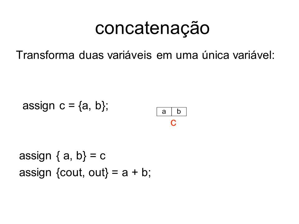 concatenação Transforma duas variáveis em uma única variável: