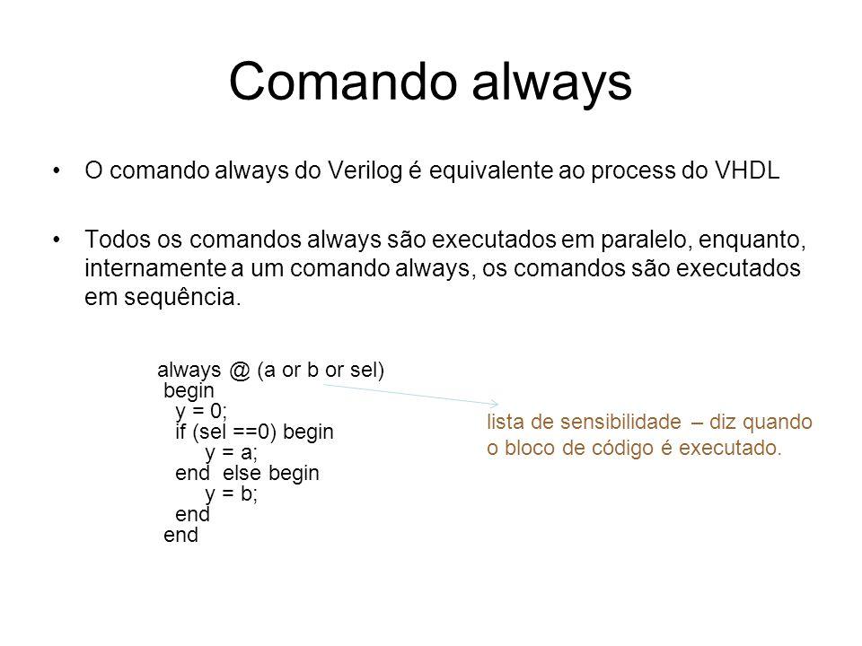 Comando alwaysO comando always do Verilog é equivalente ao process do VHDL.