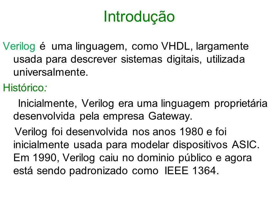 IntroduçãoVerilog é uma linguagem, como VHDL, largamente usada para descrever sistemas digitais, utilizada universalmente.