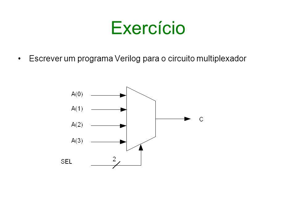 Exercício Escrever um programa Verilog para o circuito multiplexador