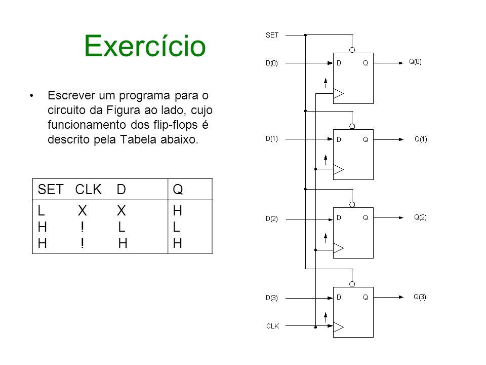 Exercício SET CLK D Q L X X H ! L H ! H H L