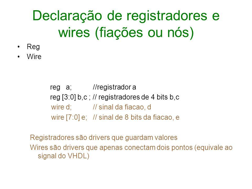 Declaração de registradores e wires (fiações ou nós)