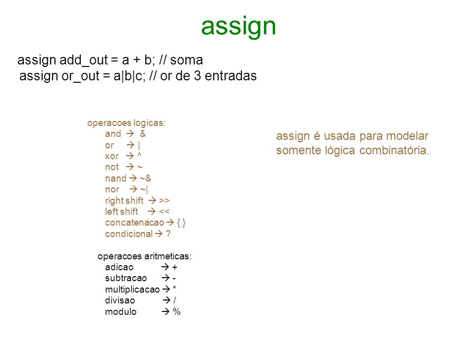 assign assign or_out = a|b|c; // or de 3 entradas