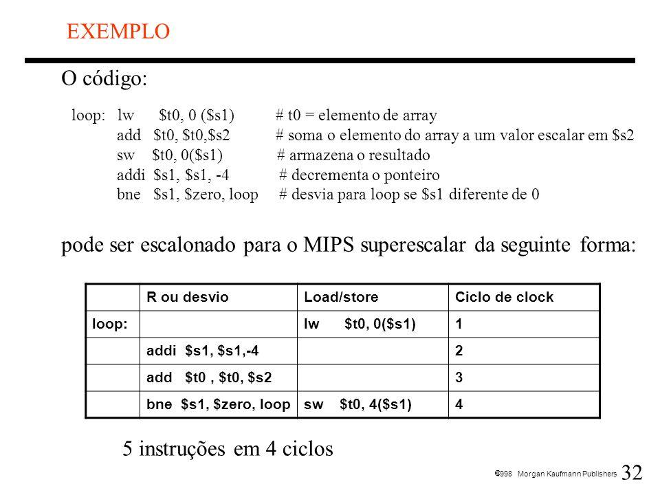 pode ser escalonado para o MIPS superescalar da seguinte forma: