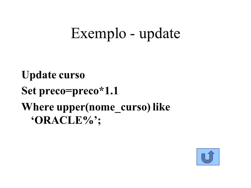Exemplo - update Update curso Set preco=preco*1.1