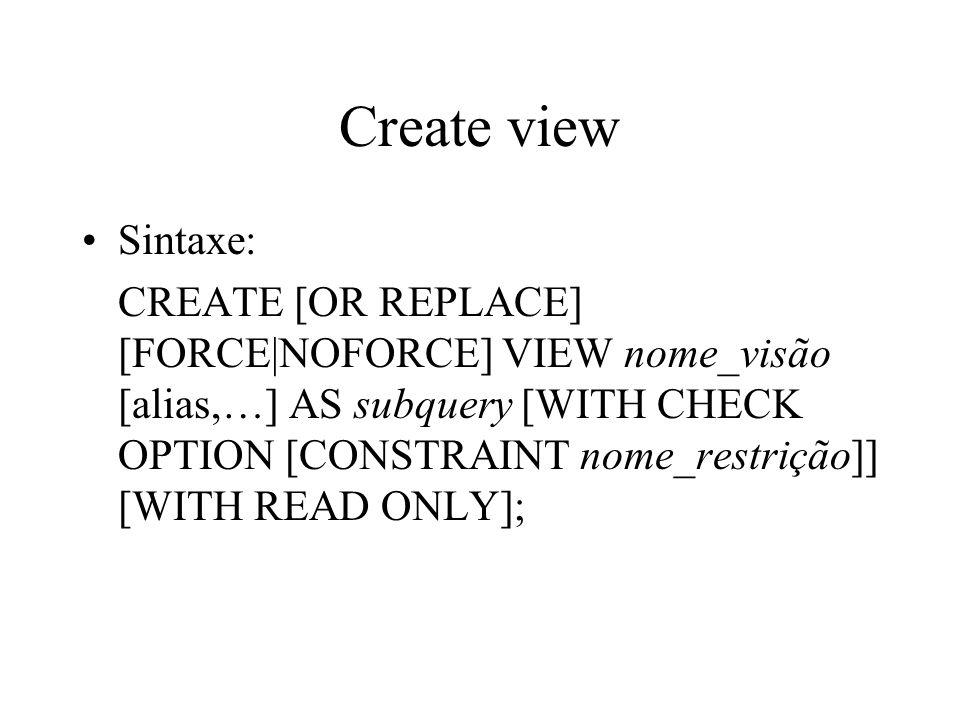 Create viewSintaxe: