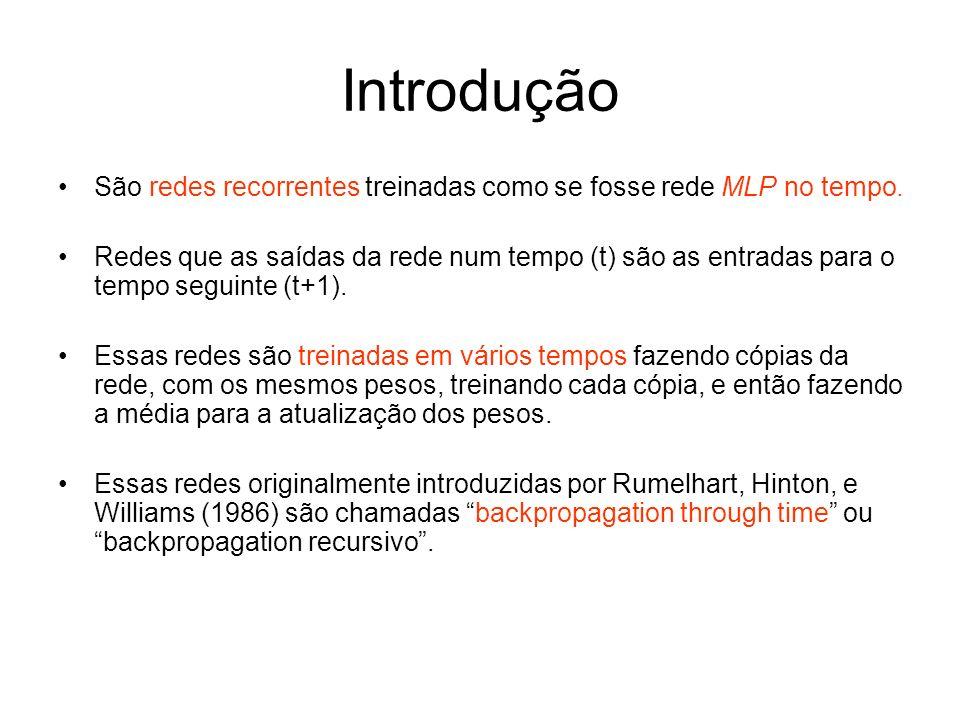 IntroduçãoSão redes recorrentes treinadas como se fosse rede MLP no tempo.