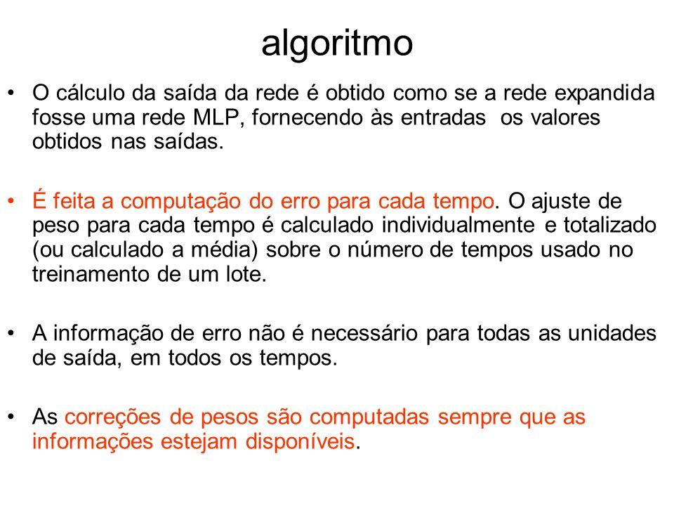 algoritmo O cálculo da saída da rede é obtido como se a rede expandida fosse uma rede MLP, fornecendo às entradas os valores obtidos nas saídas.