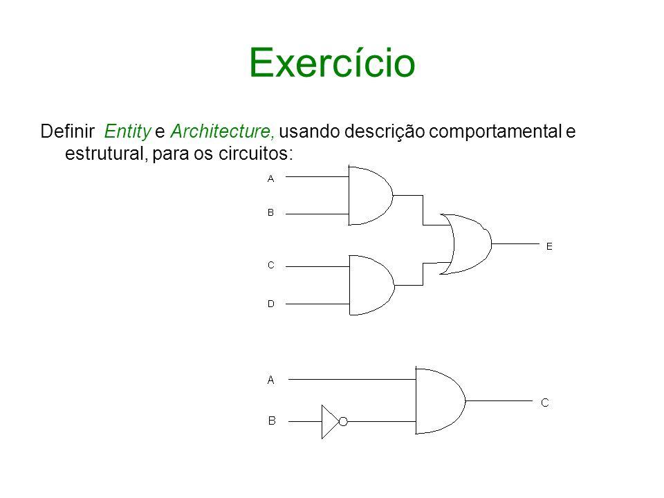 ExercícioDefinir Entity e Architecture, usando descrição comportamental e estrutural, para os circuitos: