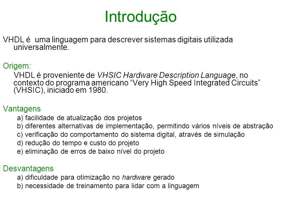 IntroduçãoVHDL é uma linguagem para descrever sistemas digitais utilizada universalmente. Origem: