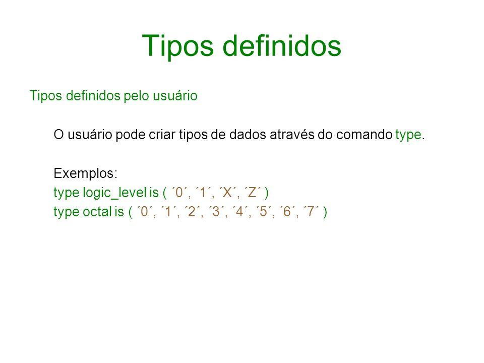 Tipos definidos Tipos definidos pelo usuário