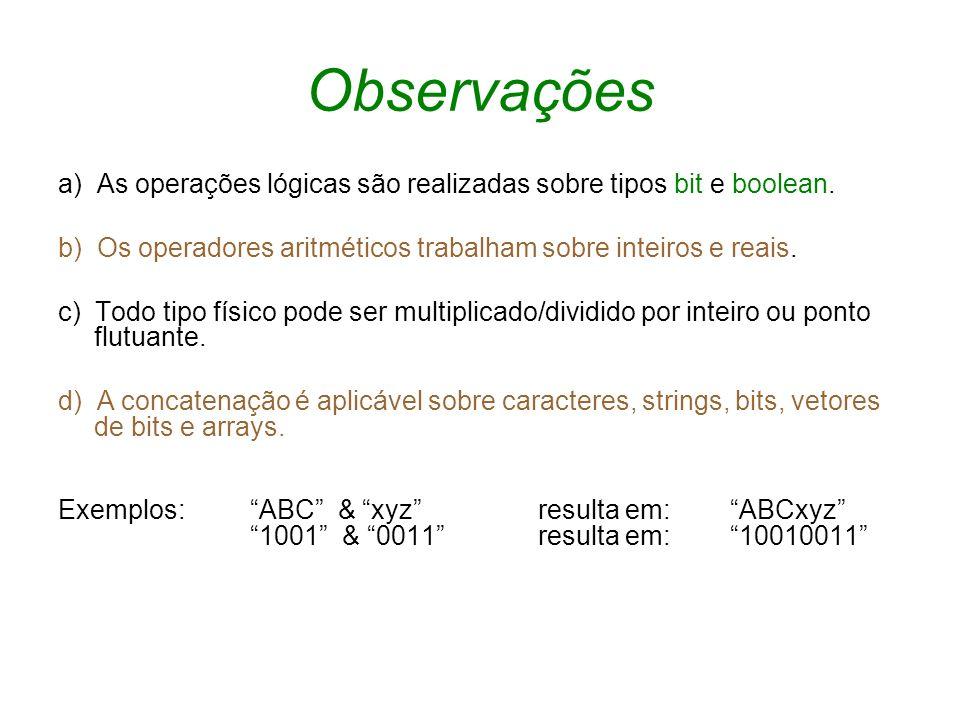 Observaçõesa) As operações lógicas são realizadas sobre tipos bit e boolean. b) Os operadores aritméticos trabalham sobre inteiros e reais.
