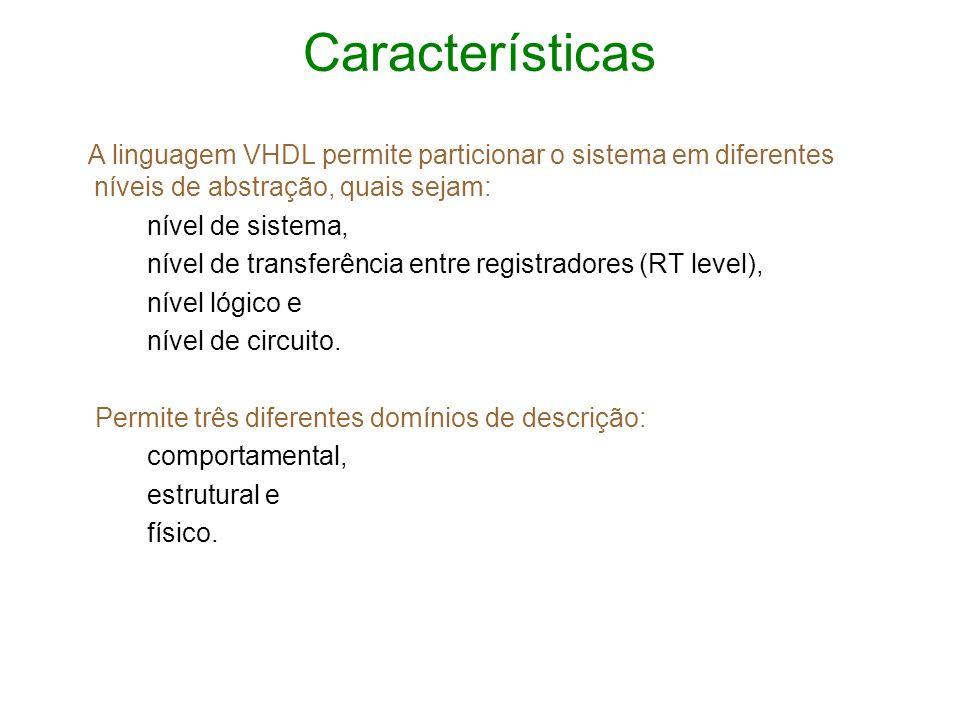 CaracterísticasA linguagem VHDL permite particionar o sistema em diferentes níveis de abstração, quais sejam: