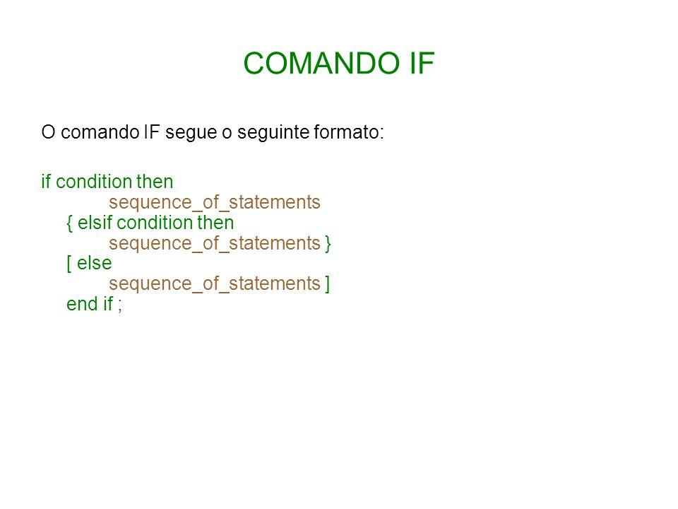 COMANDO IF O comando IF segue o seguinte formato: