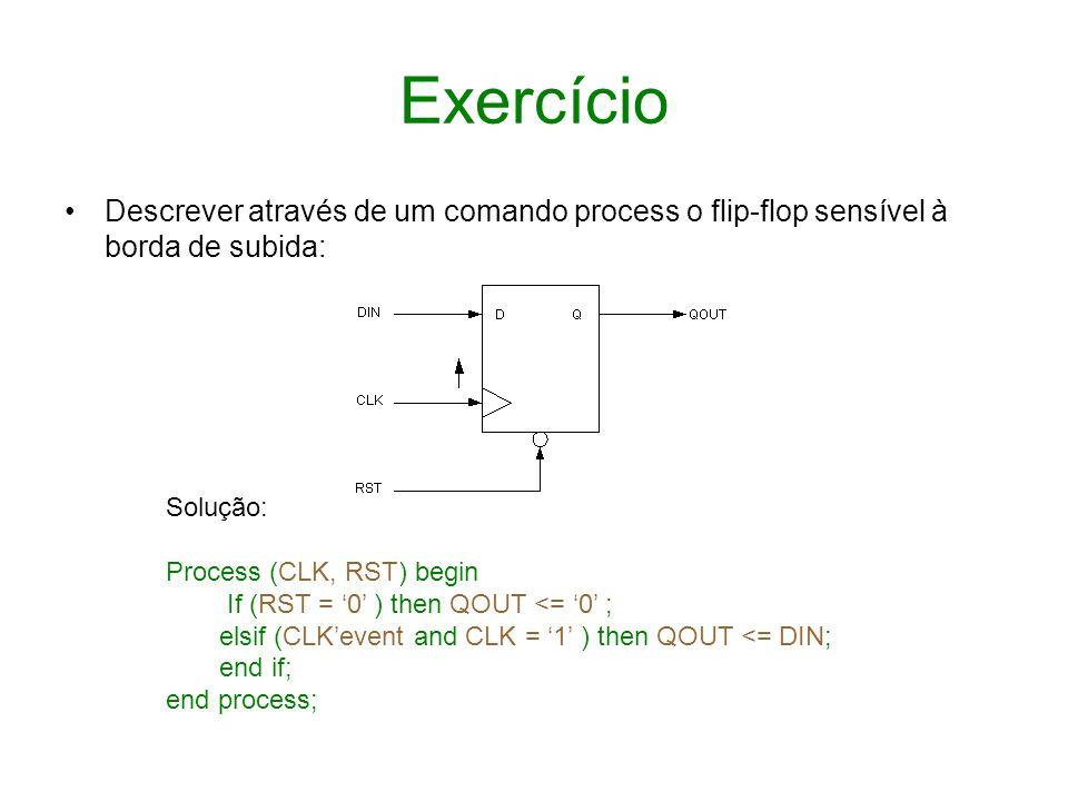 ExercícioDescrever através de um comando process o flip-flop sensível à borda de subida: Solução: Process (CLK, RST) begin.
