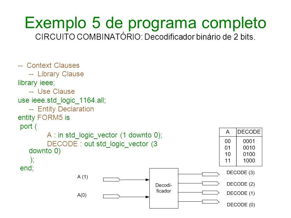 Exemplo 5 de programa completo CIRCUITO COMBINATÓRIO: Decodificador binário de 2 bits.