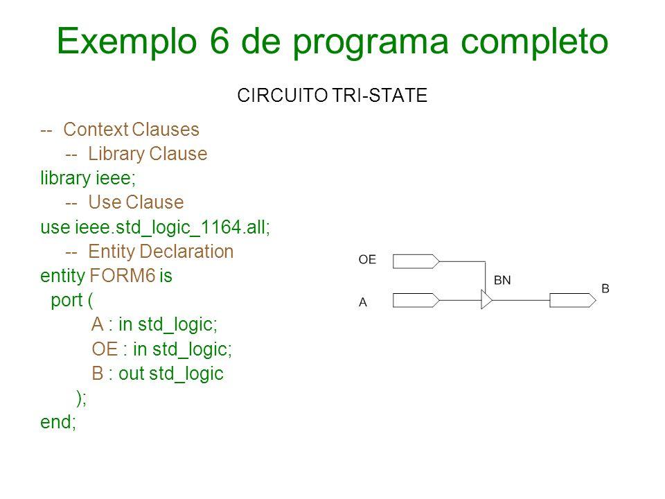 Exemplo 6 de programa completo CIRCUITO TRI-STATE