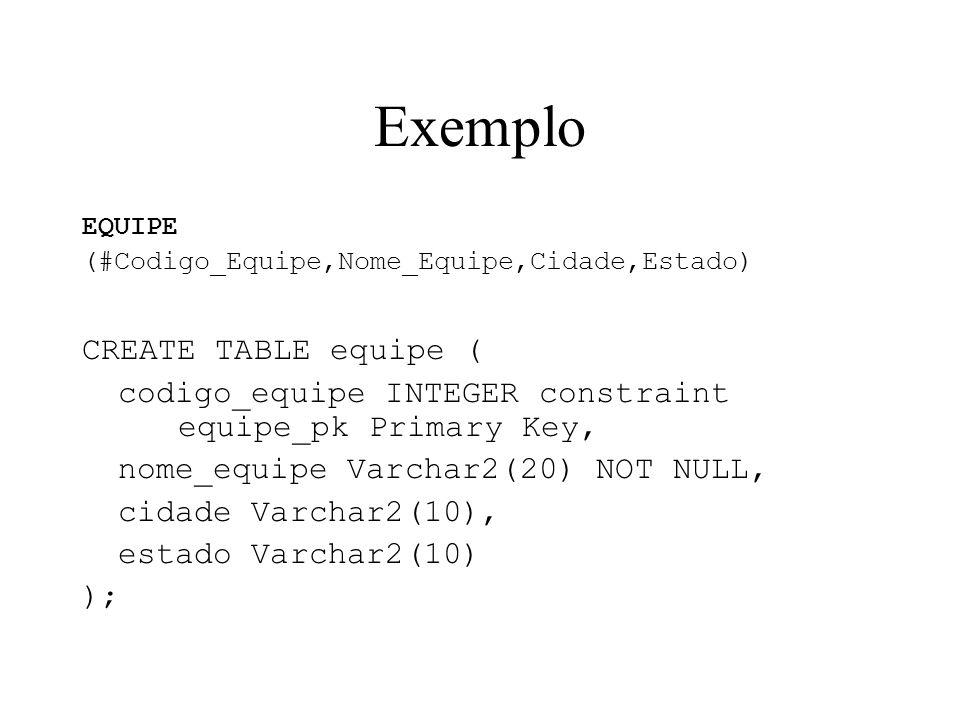 Exemplo CREATE TABLE equipe (