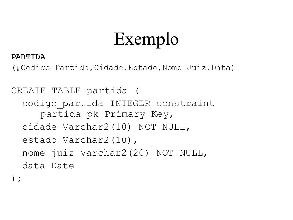 Exemplo CREATE TABLE partida (