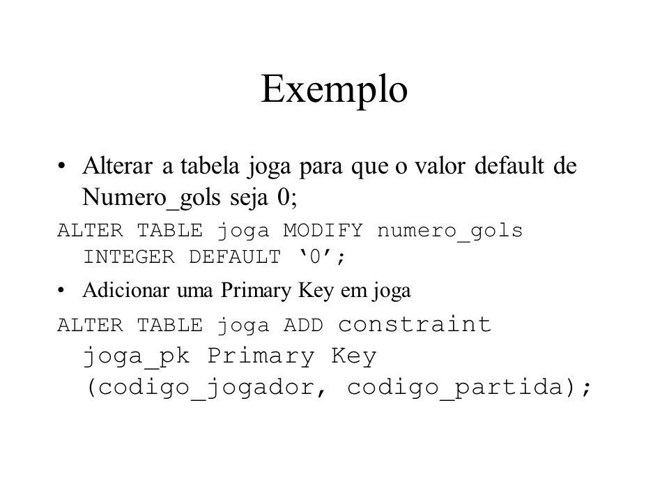 Exemplo Alterar a tabela joga para que o valor default de Numero_gols seja 0; ALTER TABLE joga MODIFY numero_gols INTEGER DEFAULT '0';