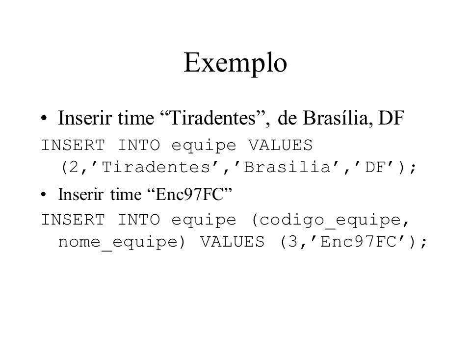 Exemplo Inserir time Tiradentes , de Brasília, DF