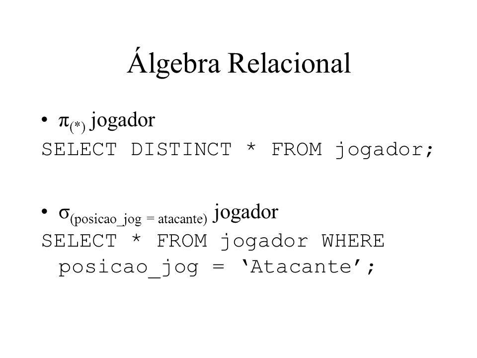 Álgebra Relacional π(*) jogador SELECT DISTINCT * FROM jogador;