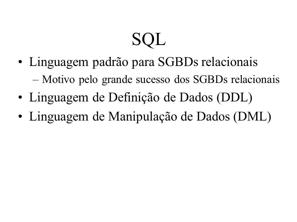 SQL Linguagem padrão para SGBDs relacionais