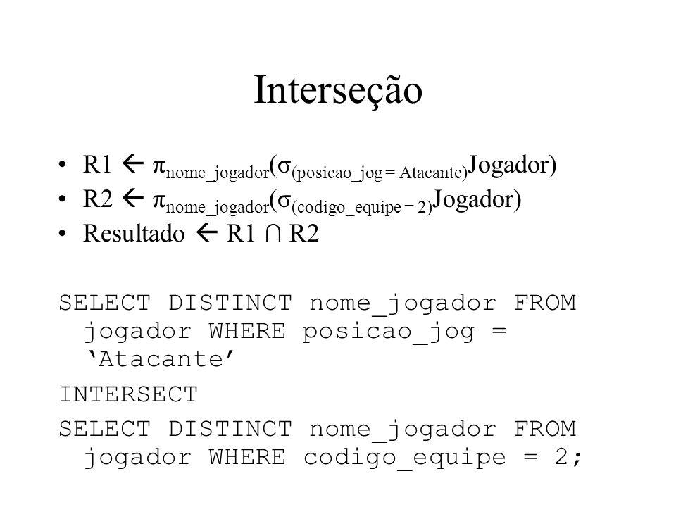 Interseção R1  πnome_jogador(σ(posicao_jog = Atacante)Jogador)
