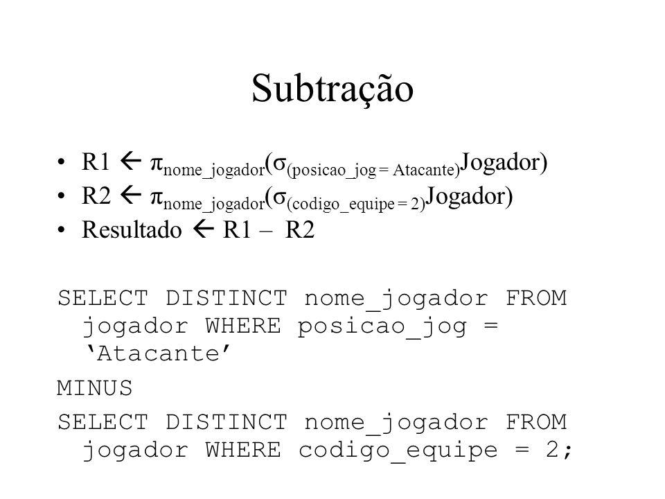 Subtração R1  πnome_jogador(σ(posicao_jog = Atacante)Jogador)