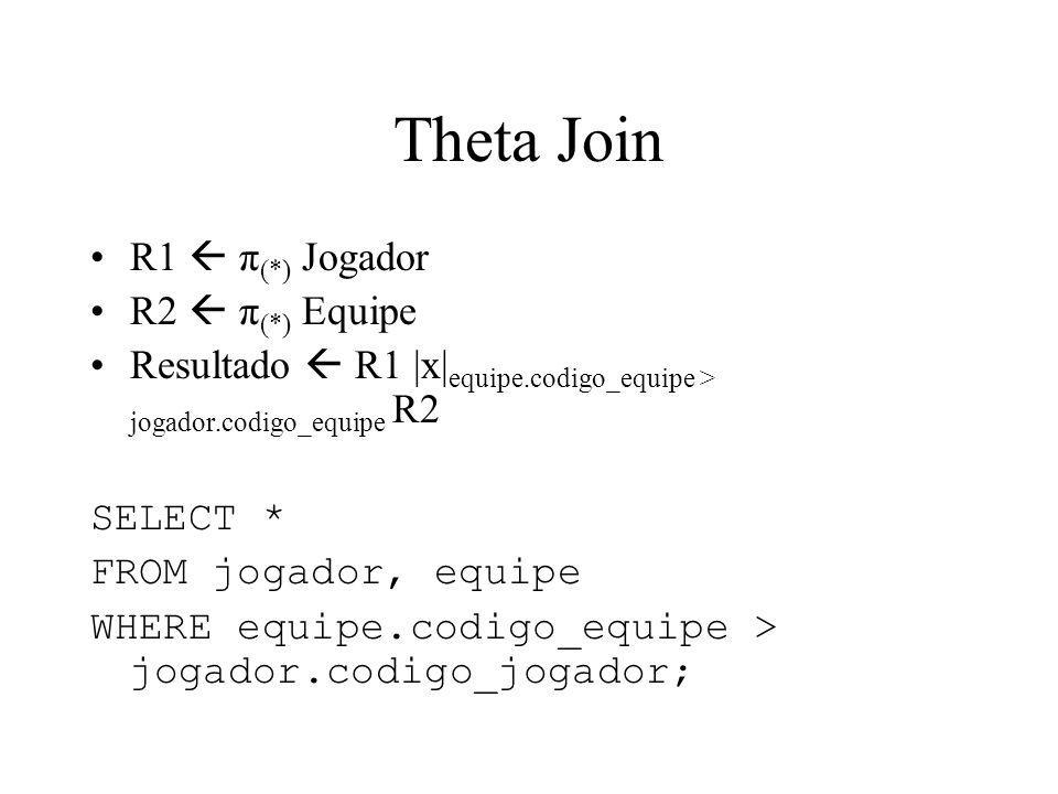 Theta Join R1  π(*) Jogador R2  π(*) Equipe