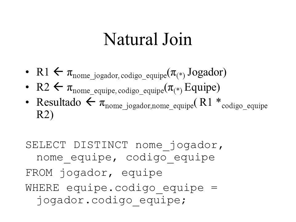 Natural Join R1  πnome_jogador, codigo_equipe(π(*) Jogador)