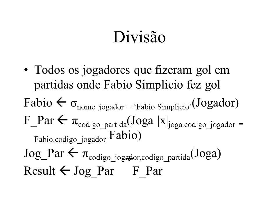 Divisão Todos os jogadores que fizeram gol em partidas onde Fabio Simplicio fez gol. Fabio  σnome_jogador = 'Fabio Simplicio'(Jogador)