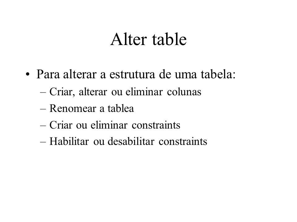Alter table Para alterar a estrutura de uma tabela: