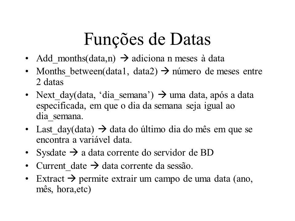 Funções de Datas Add_months(data,n)  adiciona n meses à data