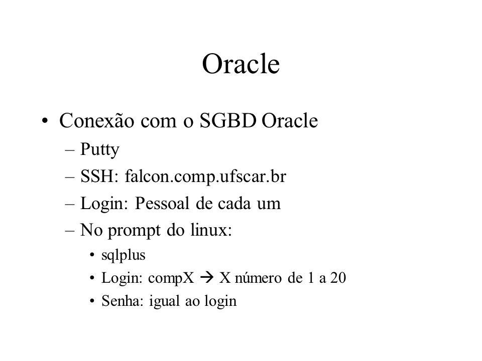 Oracle Conexão com o SGBD Oracle Putty SSH: falcon.comp.ufscar.br