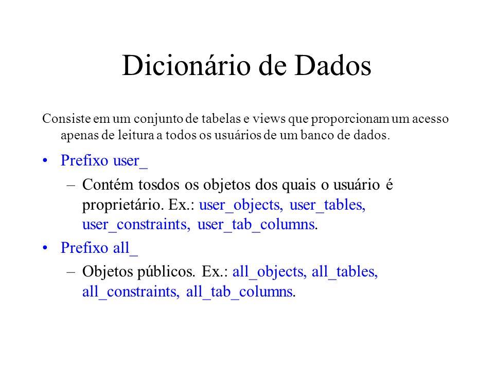 Dicionário de Dados Prefixo user_