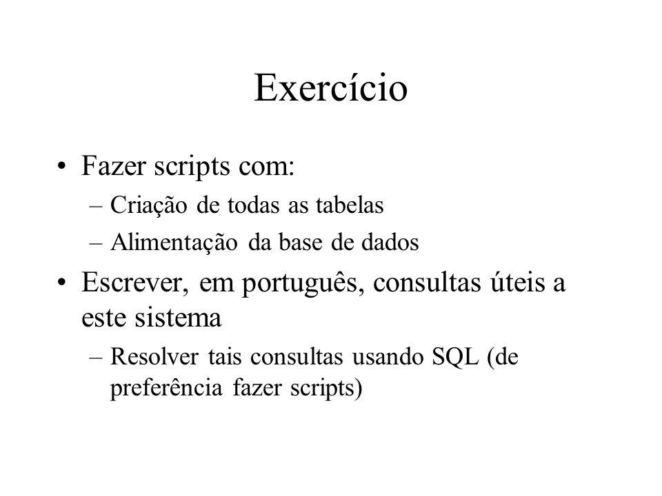 Exercício Fazer scripts com: