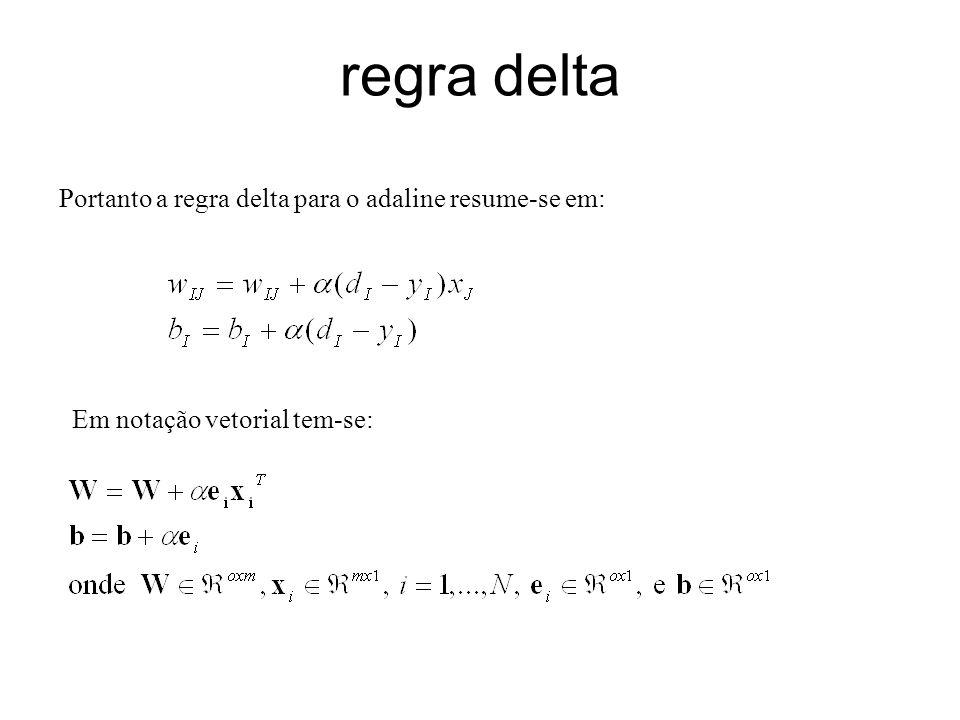regra delta Portanto a regra delta para o adaline resume-se em: