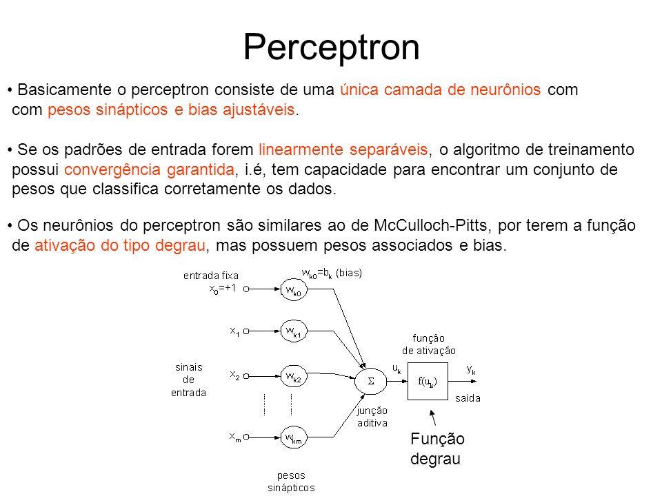 Perceptron Basicamente o perceptron consiste de uma única camada de neurônios com. com pesos sinápticos e bias ajustáveis.