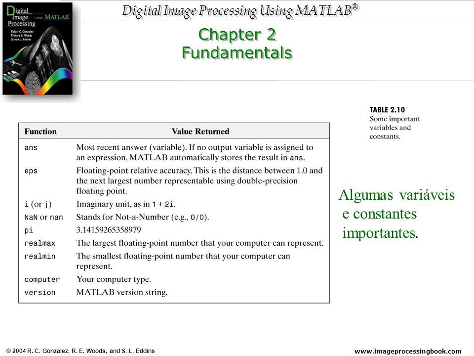 Chapter 2 Fundamentals Algumas variáveis e constantes importantes.