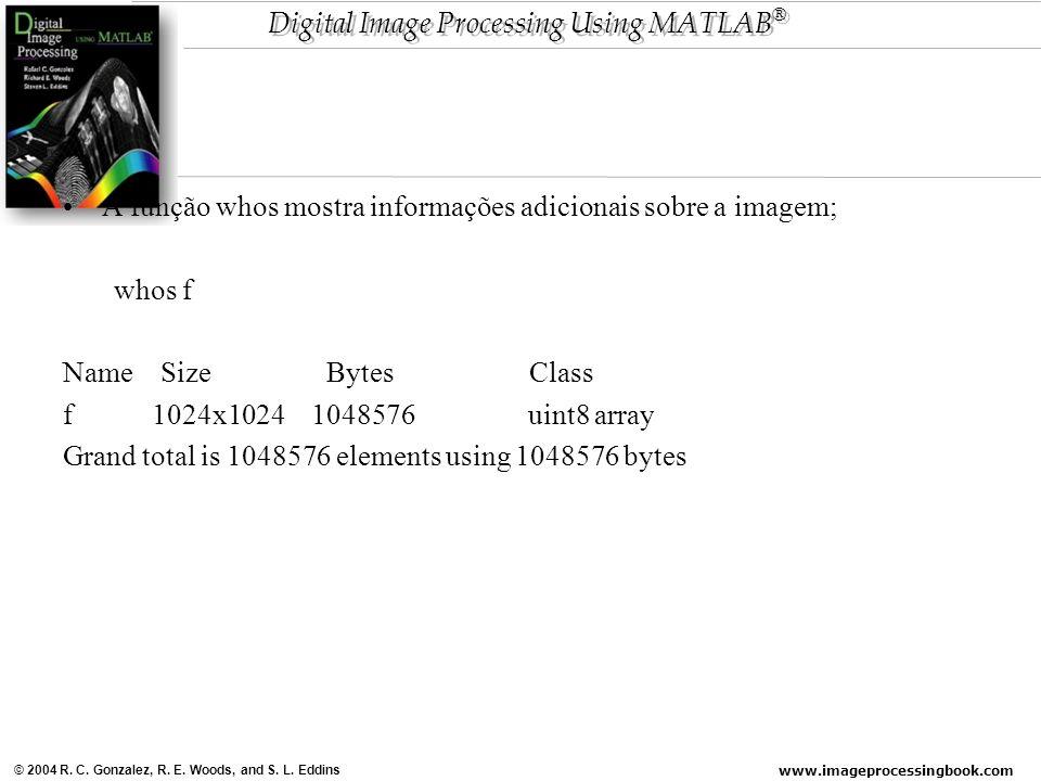 A função whos mostra informações adicionais sobre a imagem;