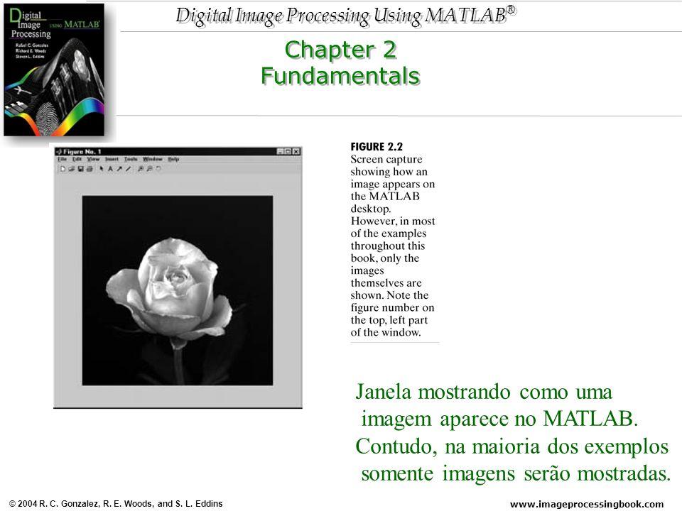 Chapter 2 Fundamentals. Janela mostrando como uma. imagem aparece no MATLAB. Contudo, na maioria dos exemplos.