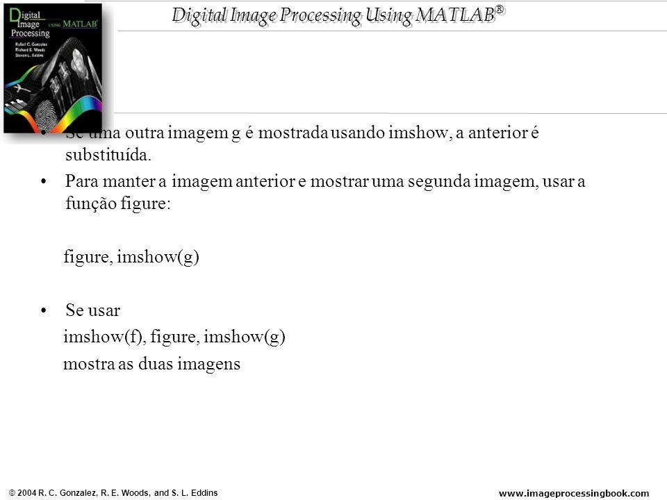 Se uma outra imagem g é mostrada usando imshow, a anterior é substituída.