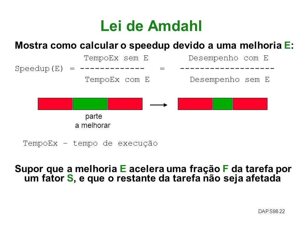 Lei de Amdahl Mostra como calcular o speedup devido a uma melhoria E: